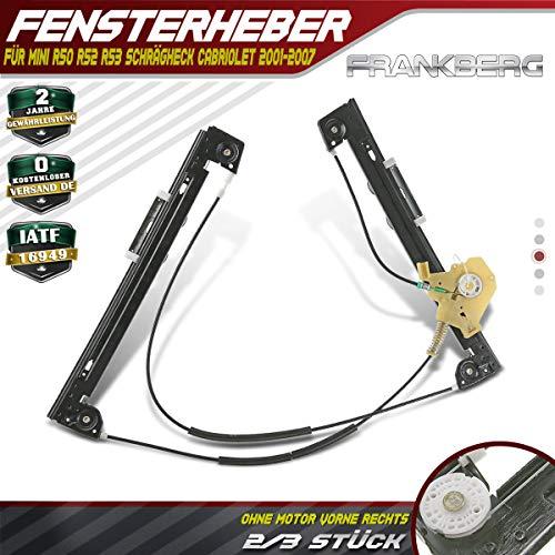 Fensterheber Ohne Motor Vorne Rechts für R50 R52 R53 Schrägheck Cabriolet 2001-2007 51337039452