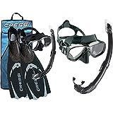 Cressi Pluma Pack de Snorkel, Unisex, Negro/Gris, 41/42 + Combo Set Perla Conjunto Combinado de máscara de Buceo y Snorkel, Mar de Perlas, Unisex-Adulto, Verde/Negro, Talla Única
