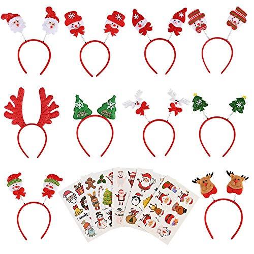 Faburo 10 Stück Haarreifen Weihnachten Stirnband Haarreifen Haarschmuck Weihnachtsdeko mit Weihnachtlichen Aufklebern zum Weihnachtsfeier für Erwachsene und Kinder