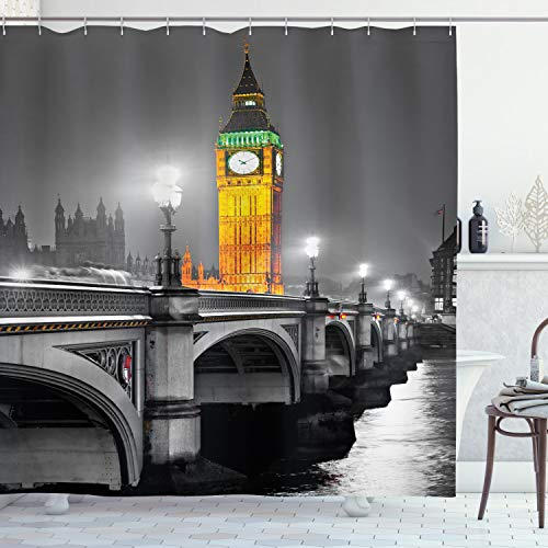 Ambesonne London Shower Curtain, Big Ben and Westminster Bridge at Night in UK Street River European Look, Cloth Fabric Bathroom Decor Set with Hooks, 70' Long, Yellow Grey