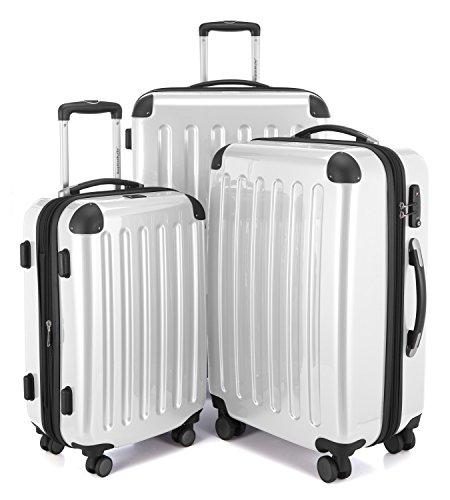 HAUPTSTADTKOFFER - Alex -  4 Doppel-Rollen 3er Koffer-Set Trolley-Set Rollkoffer Reisekoffer, TSA, (S, M & L), Weiß