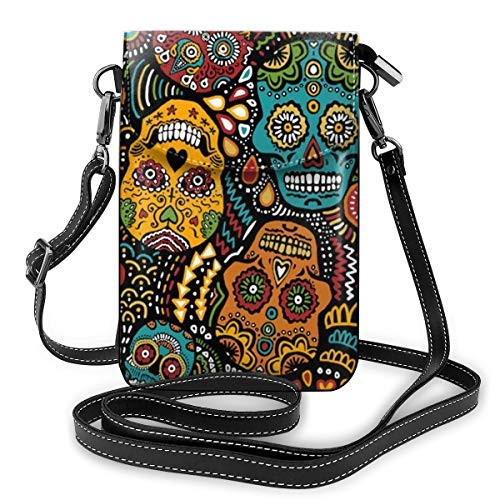 XCNGG Small Crossbody Cell Phone Purse Wallet with Credit Card Slots Lightweight Roomy Adjustable Shoulder Strap Mexican Sugar Skulls Crossbody Bags Handbags for Women