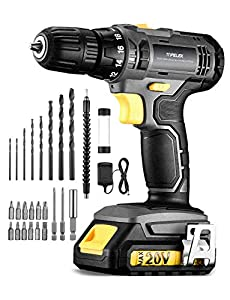 TOPELEK Taladro Atornillador 20V, Kit de Taladro Eléctrico con 27 Accesorios, 35 N.m, 1500mAh Batería de Litio, 2 Velocidades, con Luz LED, 18 + 1 Ajuste de Torque