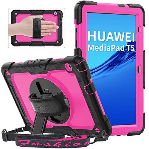 Huawei MediaPad T5 2018 10,1 Zoll Hülle mit integriertem Bildschirmschutz, SEYMAC Shockproof Robustes Gehäuse mit 360-Grad-Ständer/Handschlaufe, Abnehmbarer Schultergurt für Huawei Tablet T5, Pink