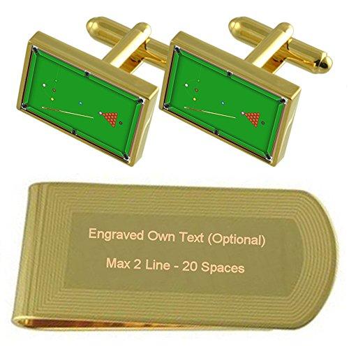 Select Gifts Table de billard Gold-tone de manchette argent gravé Collier Cadeau