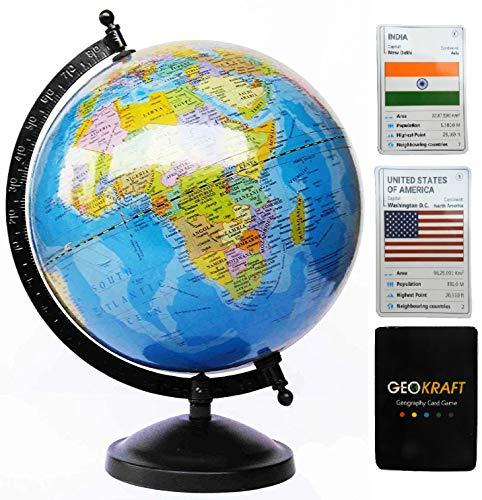 GeoKraft Educational Political Rotating World Globe with Bonus Card Game/Metal arc and Base