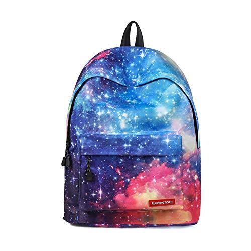 FANDARE Schulrucksack Galaxy Schultasche Junge Mädchen Rucksäcke Schulranzen Teenager Tagesrucksack Reise Daypack Damen 14 Zoll Laptop-Tasche Kinderrucksäcke Wasserdicht Polyester Blau