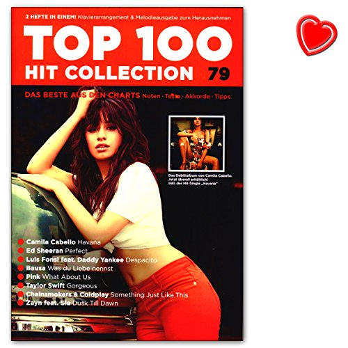Top 100 Hit Collection 79 - Ed Sheeran, Camilla Cabello, Luis Fonsi, Bausa ... Songbook mit bunter herzförmiger Notenklammer