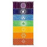 HAPPYX 7 Chakra Tapis de Yoga Arc-en-Ciel Multifonction Design Original Coton Bohême Mandala Couverture de Yoga à Suspendre Nappe, écharpe, châle, Pompons Serviette de Plage