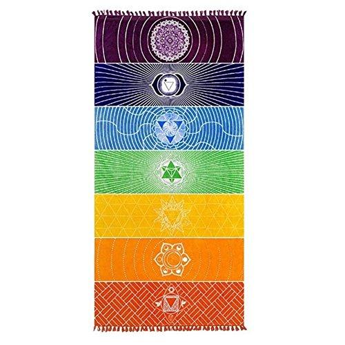 HAPPYX Yogamatte Handtuch 7 Chakra Regenbogenfarben Multifunktional Baumwolle Bohemia Mandala Yoga-D