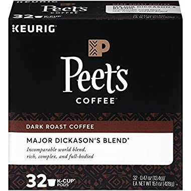 Peet's Coffee K-Cup Packs Major Dickason's Blend, Dark Roast Coffee, 32 Count Single Cup Coffee Pods, Rich, Smooth & Complex Dark Roast Blend, Full Bodied & Layered Flavor; for Keurig K-Cup Brewers