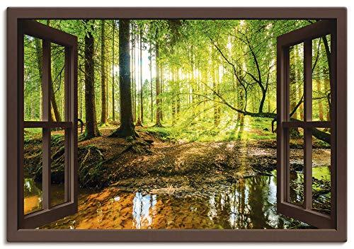 Artland Leinwandbild Wandbild Bild auf Leinwand 130x90 cm Wanddeko Fensterblick Wald Natur Landschaft Bach Sonne Baum Sonnenstrahlen T6AJ