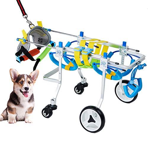 WTUGAIOHG Silla De Ruedas para Perros, Silla De Ruedas Ajustable para Mascotas De 4 Ruedas, Adecuado para La RehabilitaciÓN De Patas Traseras De Perros Discapacitados, Gatos, Perros Grandes (XS)