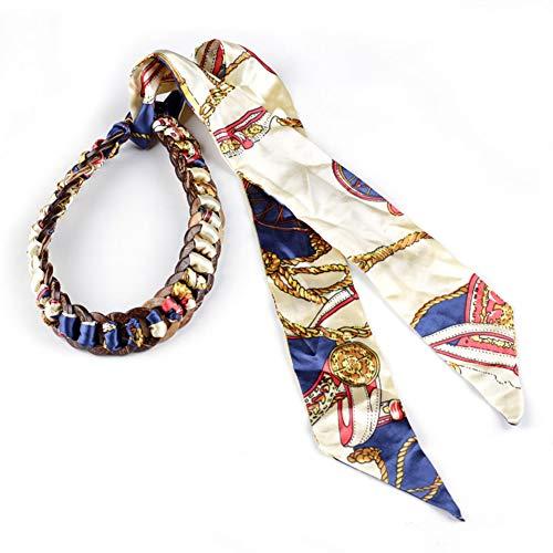 Longwu Cintura da donna in chiffon di seta Boho con fiocco in cocco, cintura in vita, catena annodata per abito Blu