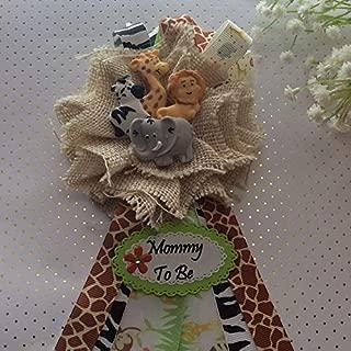 Safari Animal Rustic Burlap Mommy To Be Corsage, Rustic Safari Theme Baby Shower Corsage, Safari Animal Theme
