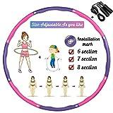 TvvaaFog Hula Reifen Hoop für Erwachsene & Kinder, Verbesserte Version 6-8 Abschnitt Abnehmbares Design, Fitness Exercise Reifen zur Massage, mit Geschenk Springseil