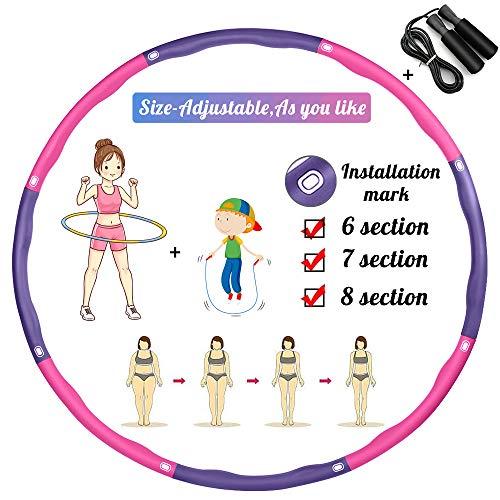 TvvaaFog Verbesserte Version Hula Reifen Hoop für Erwachsene & Kinder,6-8 Abschnitt Abnehmbares Design,Fitness Exercise Reifen zur Gewichtsreduktion und Massage,mit Geschenk Springseil