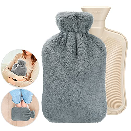 Hot Water Bottle with Soft Fluffy Cover, 2L Capacity Cooling Cold Hot Water...