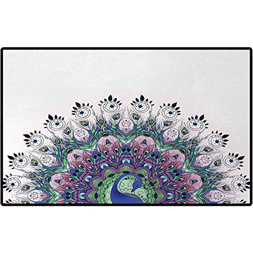 RenteriaDecor Peacock Personalized Doormat Peacock Illustration Exotic Wildlife Feather Ornament Vintage Oriental Floor Mats Doormat Rugs for Home 36x24 Violet Blue Green Pink