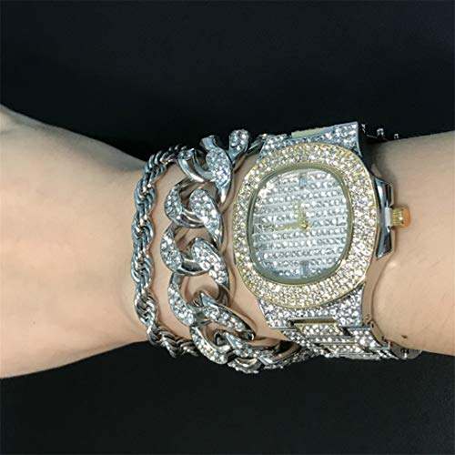 MTRESBRALTS - Reloj de pulsera para hombre con pulsera de cristal Miami Cubano, cadena de oro y plata de hombres, ajustables, reloj de pulsera