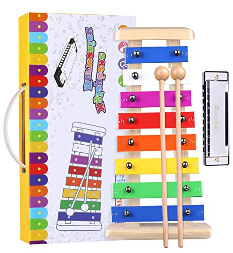 Precisely Tuned Wooden Xylophone for Kids & Harmonica Set - Professional Kids Musical Instruments Set Percussion Instruments with Mallets Award Winning Preschool Learning Musical Toys Birthday Gifts