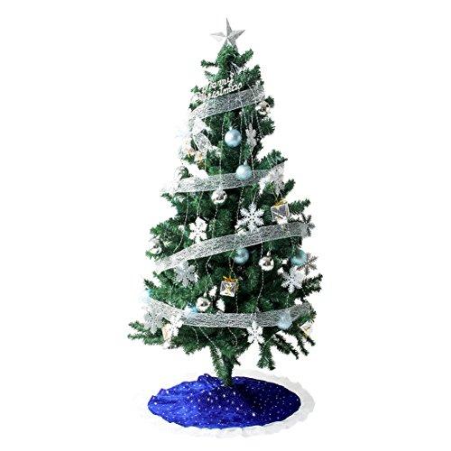 タンスのゲン クリスマスツリー 120cm オーナメント 10種 LED 8パターン イルミネーション付き シルバー 16910002 23AM (71189)