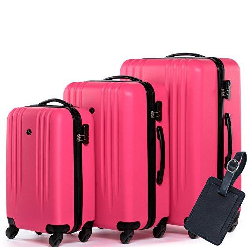 FERGÉ Kofferset Hartschale 3-teilig + 1x Anhänger Marseille Trolley-Set mit Handgepäck 55 cm 3er Set Hartschalenkoffer Roll-Koffer 4 Rollen pink