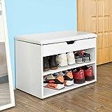 Mueble zapatero banco de almacenamiento para zapatos con cojín de asiento, cómodo baúl, zapatero, taburete para entrada de tocador salón 40,5 x 30,2 x 42 cm, color blanco