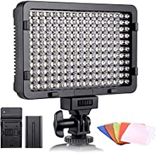 ESDDI LED Video Light, 176 LED Ultra Bright Dimmable CRI 95+ Camera Light with Battery Set and 5 Color Filters for DSLR Cameras Camcorder