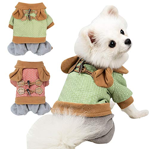 BabYoung Pet Clothes Winter Wram Dog Clothes Winter Outfits Pet Jumpsuits for Small and Medium-Sized Dogs Bichon, French Bulldog, Corgi, Etc.Cat Coats (S, Green)