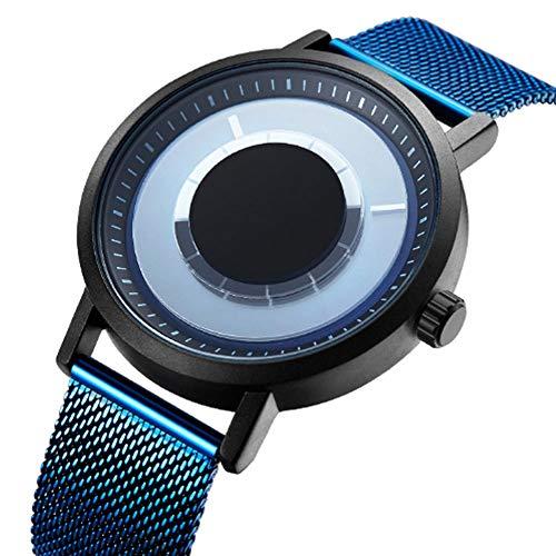 REIUYTHO Relojes de moda, marcación Vortex ningún puntero, el reloj del concepto, estilo minimalista moderno, de acero inoxidable de malla de la correa, caja de la aleación, el fortalecimiento de la l