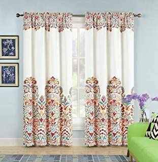 "Sarah Curtains Paisley Damask Print Bohemian Style Room Darkening Window Panel Set for Living, Dining, Bedroom (Turquoise & Tangerine, 84"" x 52"",)"