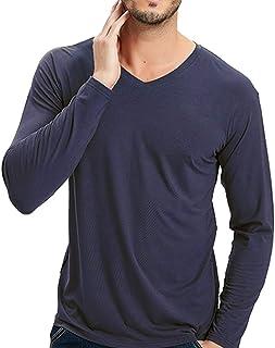 Wantschun Mens Modal Mix Bamboo Fiber V Neck Long Sleeve T-Shirt Undershirt Sleepwear Top Nightwear