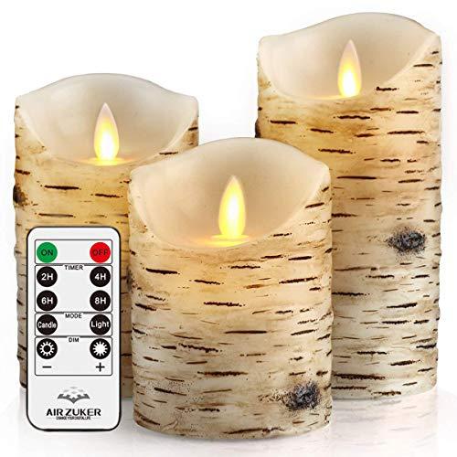 Air Zuker® LED Kerzen mit beweglicher Flamme - Echt Flammen Effekt LED Echtwachskerzen mit 10 Key Fernbedienung und Timer,Birkenstämme Design (Leuchtdauer von 300 +Stunden) - 3er Pack