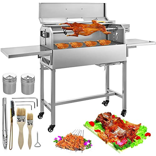 KITGARN 10.8 inch Electric BBQ Charcoal Grill 25W Stainless Charcoal Grill Charcoal BBQ Grill Removable 4 RPM Equipped Temperature Gauge and Liftable Fire Plate Portable BBQ Grill for Camping