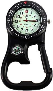 Outdoor Luminous Compass Flaschenöffner BackpackerClip-On Karabiner Uhr Neu