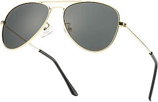Bouryo Polarized Aviator Sunglasses for Boys & Girls, 100% UV400 Protection Eyeglasses (Ages 3-12)
