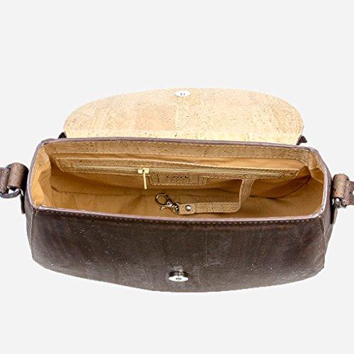 Corkor Veganer Schultertasche Böhmischen Umhängetasche Damen Geldbeutel Handtasche Natur-Leder Natur - Saddle Bag - Beuteltasche aus Veganem Leder Braun - 4