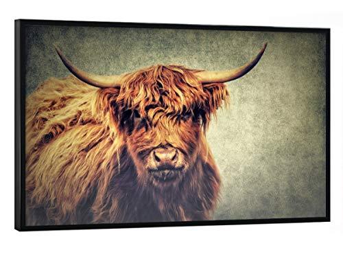 artboxONE Poster mit schwarzem Rahmen 60x40 cm Highland Cattle von Künstler AD Design - Poster mit Kunststoffrahmen