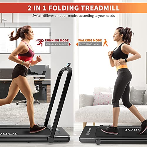 Folding Treadmill for Home, 2.3HP 2 in 1 Under Desk Electric Treadmill, Installation-Free, with Remote Control, Bluetooth Speaker and LED Display, Walking Jogging Machine for Home Use