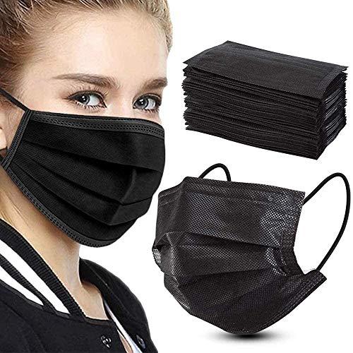 Mundschutz Masken schwarz 50 STK, Mund und Nasen Maske 3-Lagig aus Vlies, Schutzmasken Alltagsmasken CALIYO®
