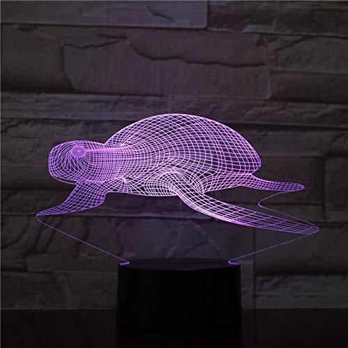 Ilusión Óptica 3D Luz Nocturna Tortuga Marina 7 Colores Led Lámpara De Mesa Táctil Para Niños Decoración Tabla Lámpara De Escritorio Cumpleaños Navidad Regalo De San Valentín
