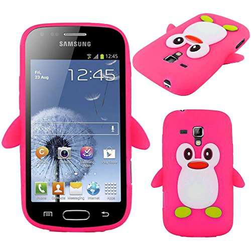 ebestStar - Coque Compatible avec Samsung Galaxy Trend S7560, S Duos S7562 Etui Housse Silicone Gel TPU Souple Pingouin, Rose [Appareil: 121.5 x 63.1 x 10.5mm, 4.0'']