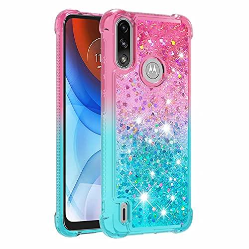 Molg Compatible con Funda Motorola Moto E7 Power Serie de Degradado Flotante Glitter Brillante Suave TPU Bumper Silicona Antigolpes Funda Protectora-Rosa Arriba y Azul Abajo