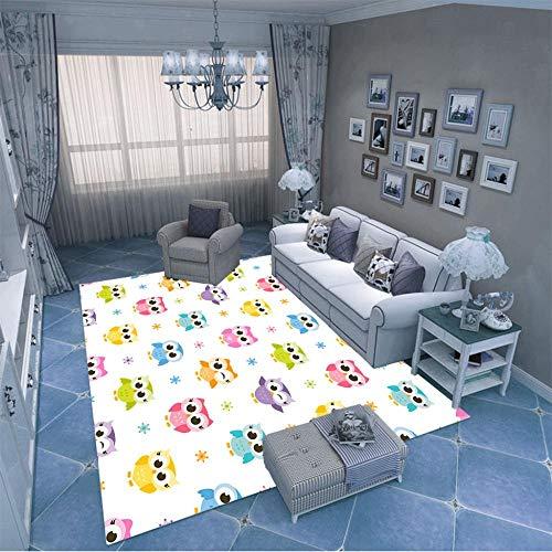 HJKGSX Alfombra De Salón Búho de Dibujos Animados Alfombra Pelo Corto Antideslizante Dormitorio Cuarto de los niños Fácil de Manejar 160 x 230 cm
