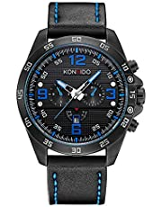 KONXIDO 腕時計 メンズ 日本製クォーツムーブメント レザーベルト 日付表示 アナログウォッチ 男性 時計 防水腕時計 カジュアル ビジネス ファッション 日本語取扱説明書付き ブラウン