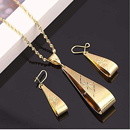 niuziyanfa Co.,ltd Necklace Gold Color Pendant Necklace Earrings Ethiopian for Women Africa Arab Jewelry Sets