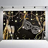 New Masquerade Party Backdrop Retro Mask Birthday Photo Background 7x5ft Black Mask Champagne Glass Firework Feather Magic Wand Backdrops for Birthday Dance Party