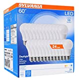SYLVANIA General Lighting 74766 Sylvania 60W Equivalent, LED Light Bulb, A19 Lamp, Efficient 8.5W, Bright White 5000K, 24 Pack, Daylight, 24 Count