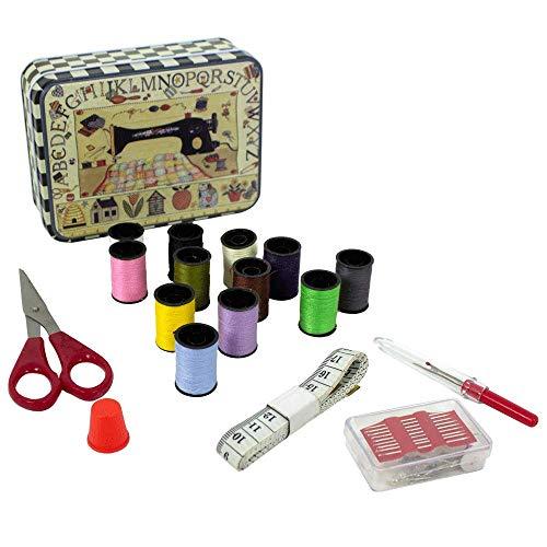 Genius Ideas - Caja de costura de metal – Kit de costura: un metro suave, un par de tijeras, agujas, un dedal de coser, 12 bobinas de hilos de colores y un desvitado